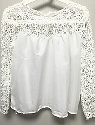 Women's Lace White Blouse , Round Neck ¾ Sleeve Lace