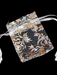 padrão de folha de ouro saco de presentes mesh (1pc)