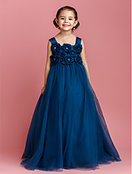 Ball Gown Floor-length Flower Girl Dress - Satin Tulle Straps with Bow(s) Crystal Detailing Flower(s)