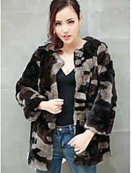 Fur Coats Women's Beaver Rabbit Skin Long Hairs In Camouflage Army Green Fur Coat(More Color)