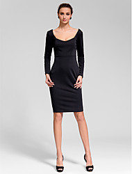 Cocktail Party Dress Sheath/Column Scoop Knee-length Polyester