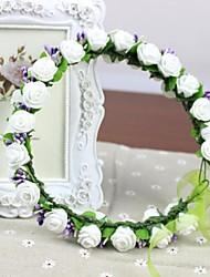 PE Foam White Rosettes with Purple Glass Bead Wedding Artificial Flowers Headpieces Women's Hand-made Bridal Headband