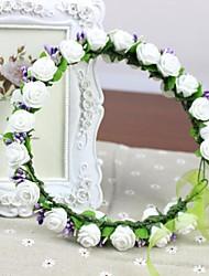 mousse PE rosettes blanches avec verre violet talon mariage fleurs artificielles Casques faits à la main nuptiale bandeau des femmes