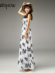 MiShow®Women's Strap Fresh Floral Pattern Design Sleeveless Casual Loose Plus Size Slim Beach White Maxi Dresses