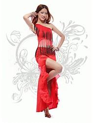 Dança Latina Roupa Mulheres Actuação Algodão / Poliestireno Borla(s) Sem Mangas Natural 150CM