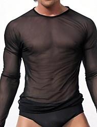 Men's Sexy Solid Undershirt,Nylon Mesh