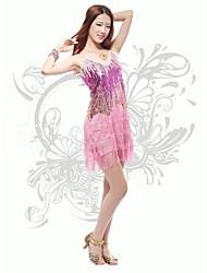 Devemos vestir a dança latina vestido de poliestireno de desempenho feminino