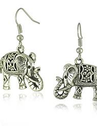 Уникальный тибетского серебра полые резные слон болтаться моды старинные серьги
