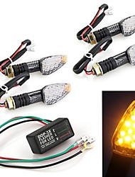 4 Pcs 10 LED Amber Motorcycle Turn Signal Indicator Light Blinker + Flasher Relay