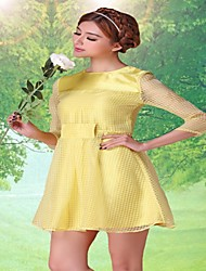 Women's Yellow Dress , Lace/Party ¾ Sleeve