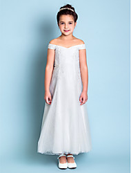 Lanting Bride ® A-line Ankle-length Flower Girl Dress - Lace Off-the-shoulder with Embroidery