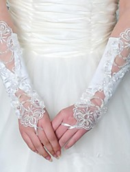 No Means Flowers Satin Stitch Pearl White Wedding Dress Gloves