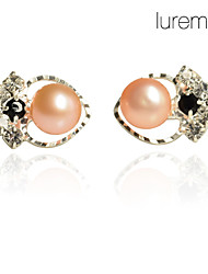 Heart Stud Earrings Jewelry Women Heart Daily Pearl White Pink