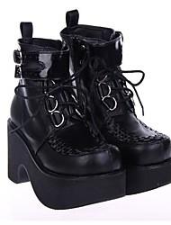 PU de cuero zapatos de 9cm lolita punky plataforma negro