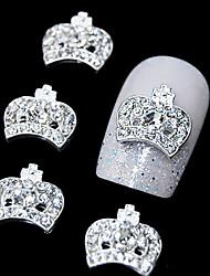 10pçs strass coroa 3d diy acessórios de liga de decoração de unhas
