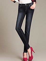 Women's Blue/Black Denim Pant , Casual
