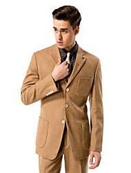 solide brun costume sur mesure ajustement en laine