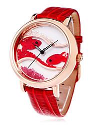 time100 Frauen Mode Kristall Fisch Wahl echtem Leder wasserdicht Diamant-Armband Quarzuhr