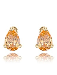 Women's Roxi Gift Classic Genuine Austrian Crystals Fashion Champagne Zircon Water Stud Earrings (1 Pair)