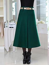 Women's Red/Green Skirts , Casual Midi