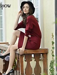 col rond conception de couleur unie manches longues moulante mince taille plus casual robe pull-dessus du genou de mishow®women