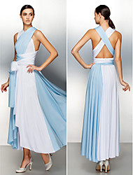 Formal Evening Dress - Multi-color A-line Asymmetrical Jersey