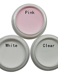3PCS Nail Art Acrylic Powder Sets (White,Pink,Clear)