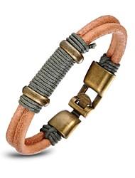 couro marrom vermelho tecido pulseira de três homens