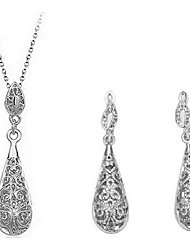 SNA Women's Fashion Water-drop Cut Out Earrings Necklace Set