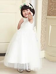 Ball Gown Ankle-length Flower Girl Dress - Satin Sleeveless