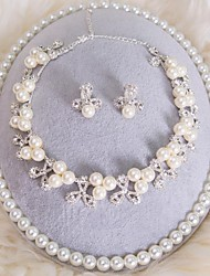 Jewelry Set Women's Wedding / Birthday / Gift / Party / Special Occasion Jewelry Sets Alloy Pearl Necklaces / Earrings / Tiaras Silver