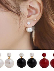 Women's Stud Earrings Front Back Earrings Costume Jewelry Double Sided Simple Style Pearl Imitation Pearl Alloy Ball Jewelry For Wedding