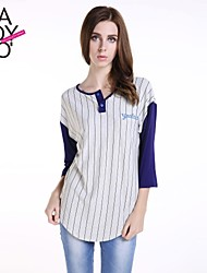 haoduoyi® Women's Baseball Style Yankees Two buttons Round Collar ¾ Sleeve T-Shirt