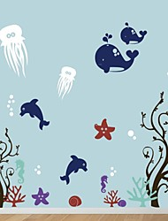 Wall Stickers Wall Decals, Cartoon Sea World PVC Wall Stickers.