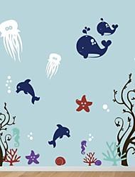 настенные наклейки наклейки на стены, мультфильм Морской мир наклейки ПВХ стены.