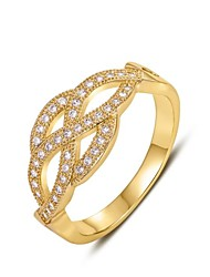 Women's Classic 18K Four Petal Flower Diamanted Copper Statement Rings(1 Pc)