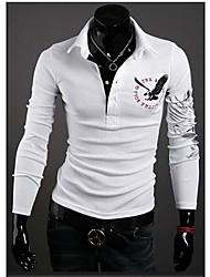 yesfly Herren Langarm dünnen Art und Weise Revers Hals Print T-Shirt