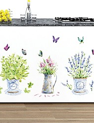 Wall Stickers Wall Decals, Natural Colorful Potting Butterflies PVC Wall Stickers
