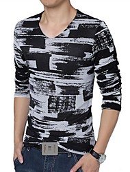 Men's V-Neck Breathable Mesh Long Sleeved T-Shirt