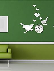 "18""H Modern Style Cartoon Animal Birds 3D DIY Acrylic Mirror Wall Clock"