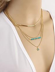 elementos de moda União Europeia e ocidentais olhos de pedra naturais colar de cobre de múltiplas camadas da senhora para o partido