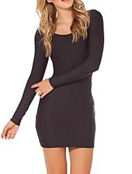 base robe moulante à manches longues col rond des femmes