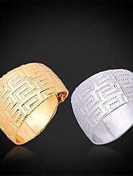 U7® Vintage G Pattern Adjustable 18K Real Chunky Gold Platinum Plated Band Rings
