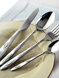 4 Pieces Dinner Knife, Spoon, Fork and Teaspoon Tableware Set for Dinner, Rhombus Design Handle