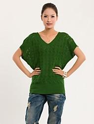 moda camisola de manga curta de cor sólida das mulheres (mais cores)