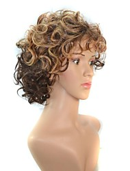 12 Inch Cosplay Women Short Double Color Gradient Curly Hair Synthetic Wigs Brown with Free Hair Net