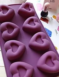 8 trous moules de chocolat de gelée de glace gâteau de coeur de moule, silicone 30 × 17,5 × 3 cm (11,8 × 6,9 × 1,2 pouces)