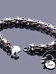 Personalized Gift Chain Bracelet Stainless Steel Engraved Jewelry