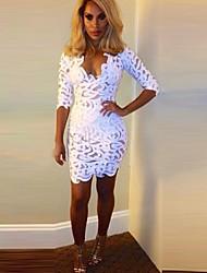 Spitzeausschnitt, figurbetontes Kleid Frauen (mehr Farben)