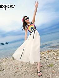 mishow®women runda kragen kina stil broderi vintage ärmlös smal strand chiffongklänning